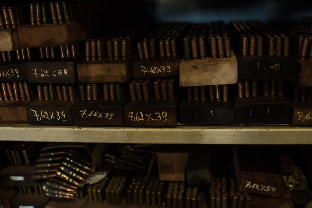 Ammunition inside the armory at Garamba National Park Headquarters on November 28, 2017.