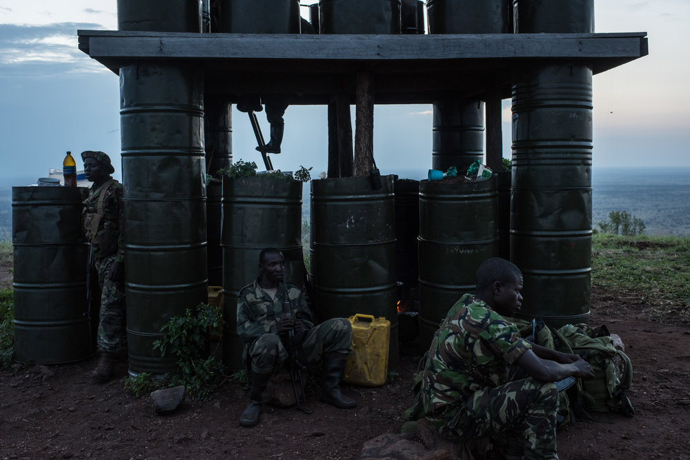 Garamba Rangers and members The Armed Forces of the Democratic Republic of the Congo (FARDC) at the Bagunda outpost in Garamba National Park on November 28, 2017.