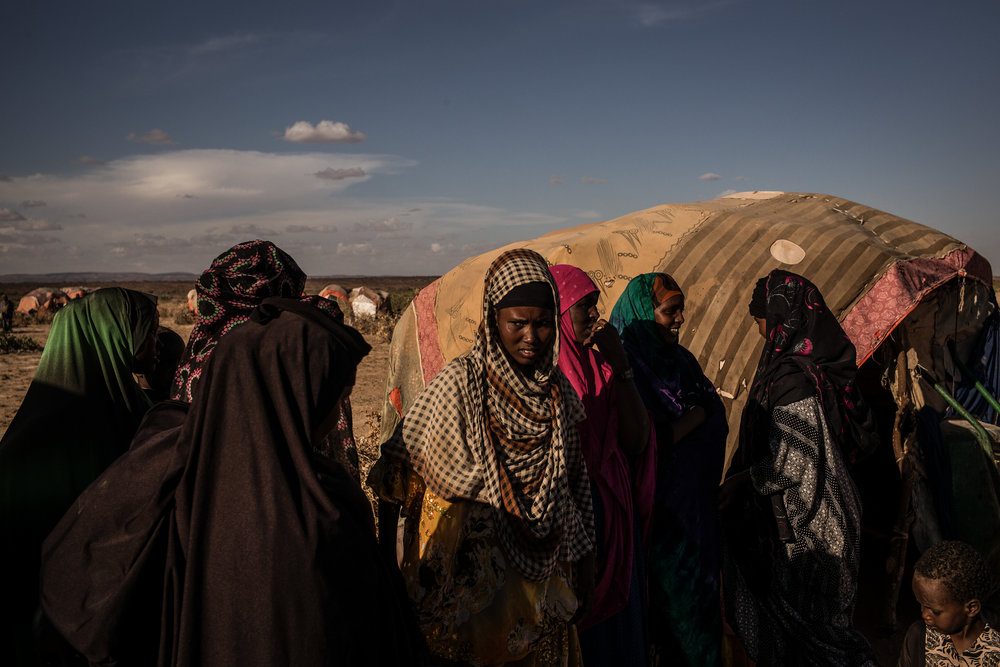 Women at an IDP camp outside of Ainabo. In the last 3 months, 447 pastoralist families have moved to the camp due to drought conditions. Somalia is on the edge of famine as drought conditions have left 6 million people in need of food aid throughout the country.