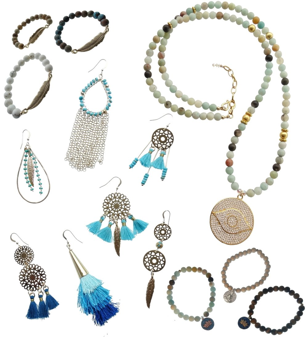 Newest Collection:     BOHO GLAM - Necklace & Bracelets available in:Turquoise, White Turquoise, Amazonite, Brown Agate, Aqua Terra & Lava