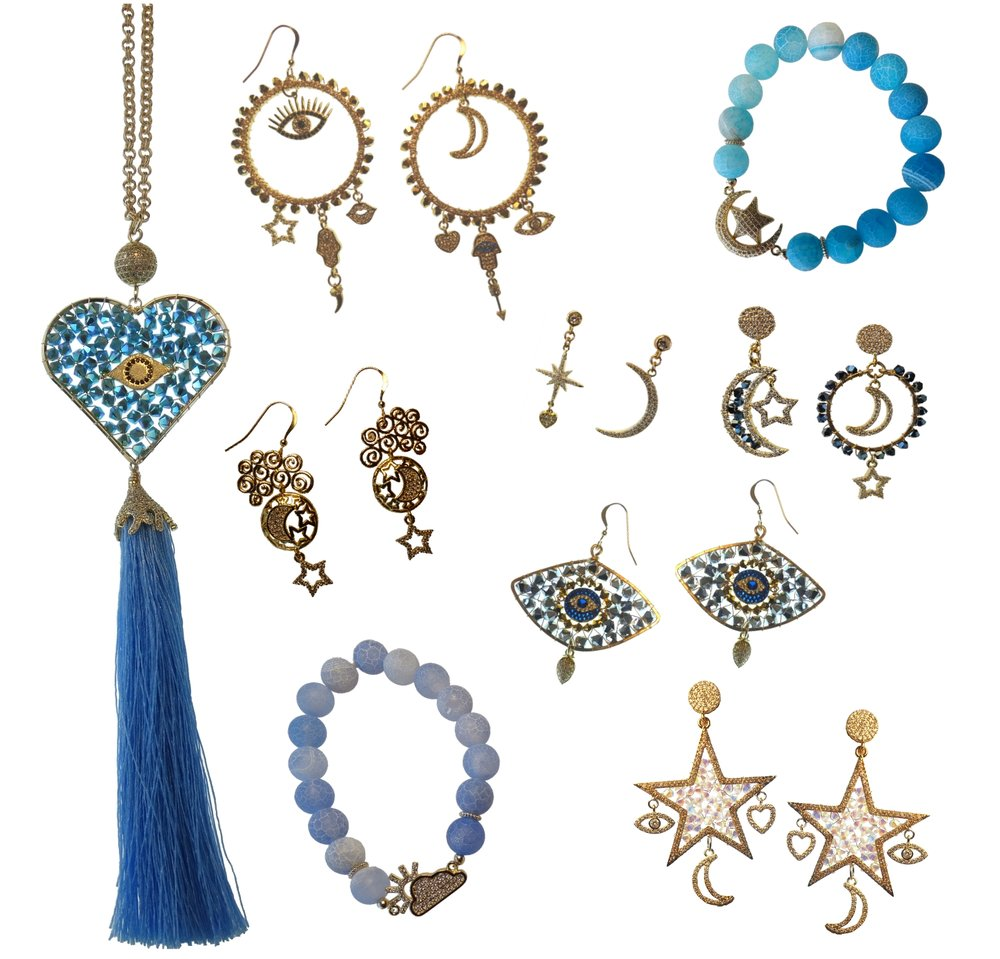 MYSTICAL LOVE COLLECTION - Moons * Stars * Hearts * Lucky Eyes * HamsasAll come together to create this cosmic, out-of-this-world collection. Designed and Hand-Crafted in our studio using the finest materials and - as always - made with love.
