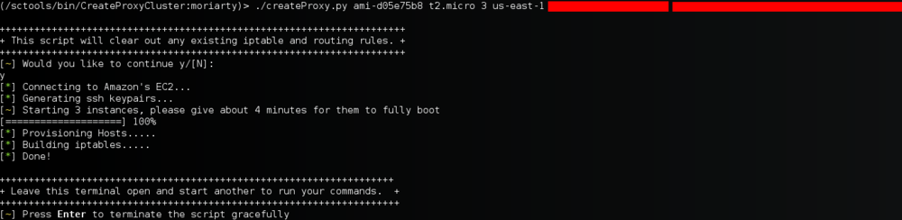 An example of the script starting up 3 ami-d05e75b8 (ubuntu) instances on t2.micro hardware in the us-east-1 region.