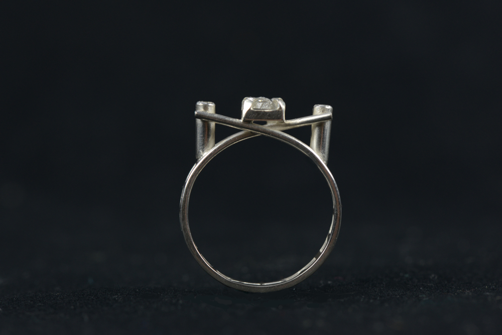 925 Sterling Silver, White Sapphires and Rose Cut Diamond Engagement Ring - Commissioned by Adam Lathbury, 2014