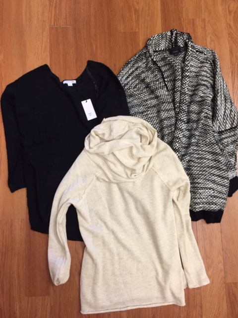 Oversized sweaters - Solid black ($48), Black & Ivory ($40) and Cream ($40)