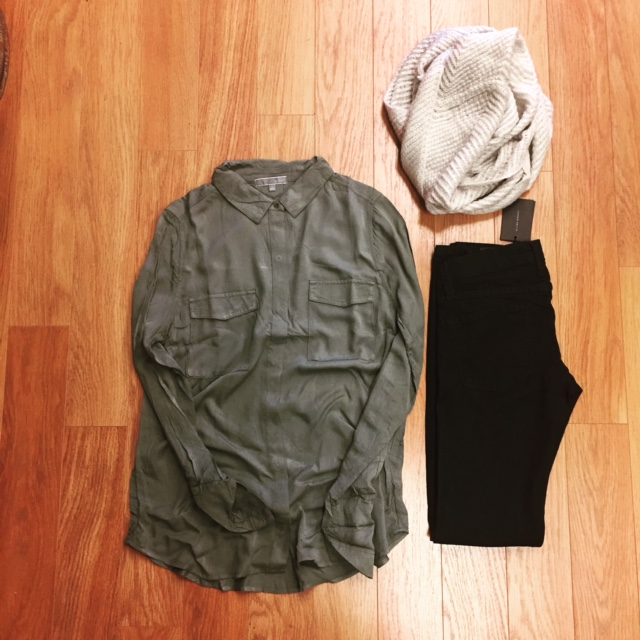 Dark Flying Monkey jeans $48, Army Green blouse $34, Knit infinity scarf $25