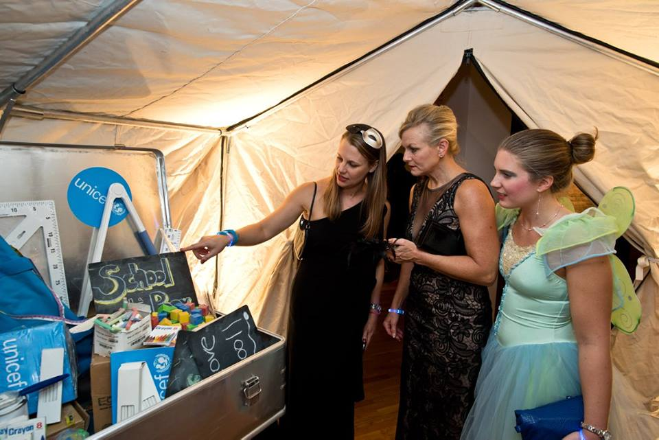 Guests have the opportunity to see a UNICEF tent and supplies.