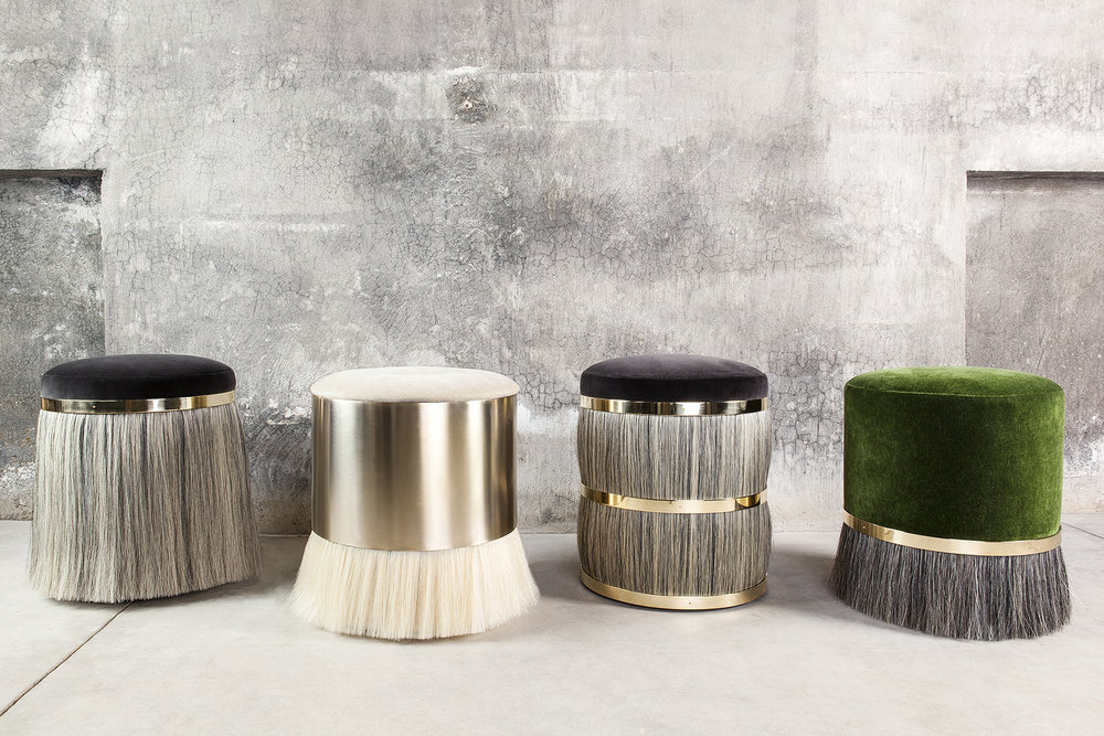 "Konekt Furniture's ""Thing"" stools made with a combo of mohair, horse hair and brass"