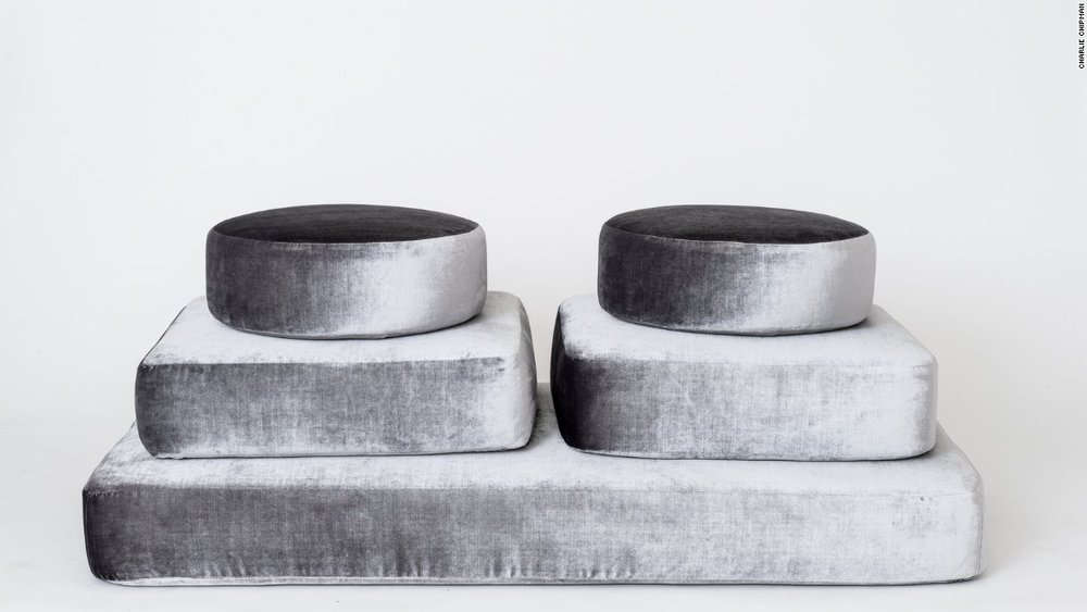"Another Human's ""Stacking"" ottomans at Sight Unseen Offsite inspired by meditation stones"
