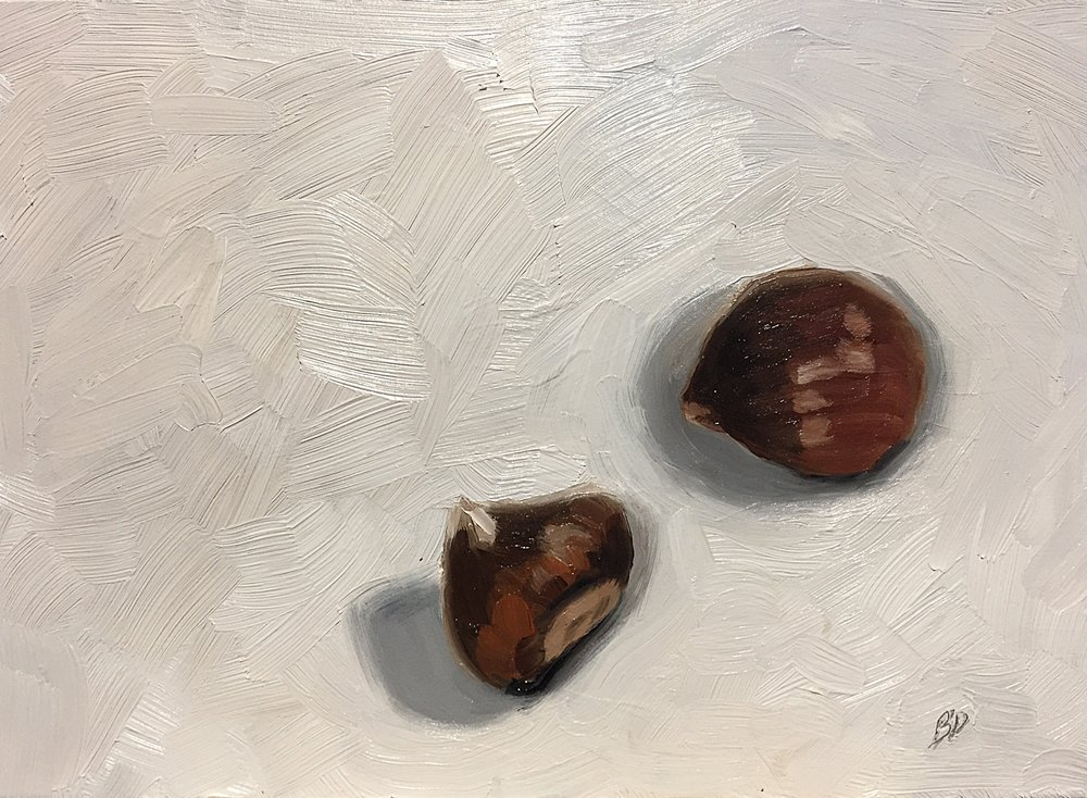 """Chestnuts, 5x7"""", oil on panel"""