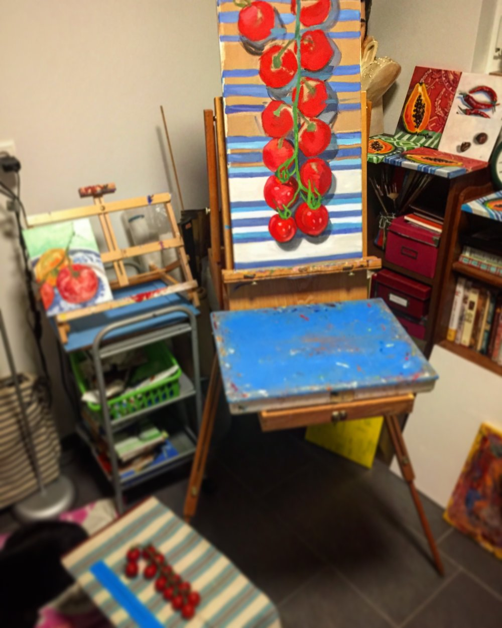 """View of the painting on the easel- much larger than my usual 9"""" x 7"""""""