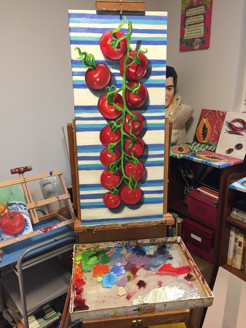 """My last six painting days were spent on this still life. """"Tomatoes"""" 12"""" x 30"""", oil on canvas."""