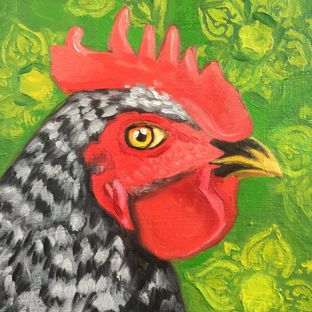 "Complementary Chick, 7"" x 9.5"", oil on canvas. Available soon at my  ETSY  shop."