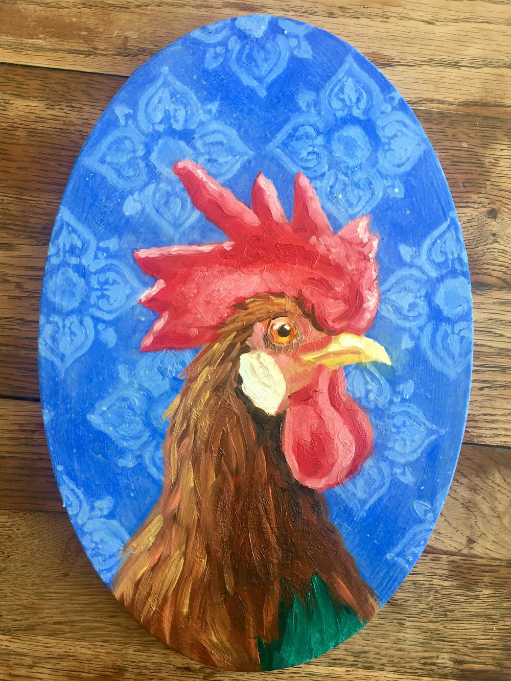 "Today's rooster portrait, 8 x 11"" oval, oil on canvas"