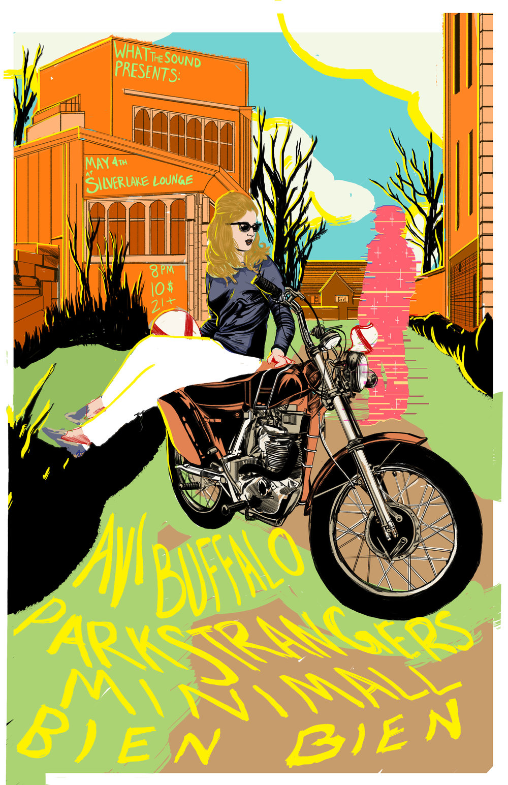 Avi Buffalo / Park Strangers / Minimall / Bien Bien   - Artwork by Nicole Rifkin   May 4th, 2017 at Silverlake LoungeTix: $10 - bit.ly/May4SilvLounge