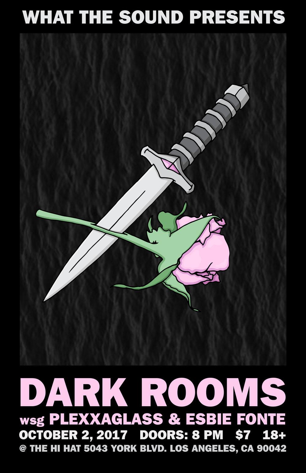 DARK ROOMS / PLEXXAGLASS / ESBIE FONTE - Artwork by Riley SavageOctober 2nd @ The Hi Hat$7, 18+