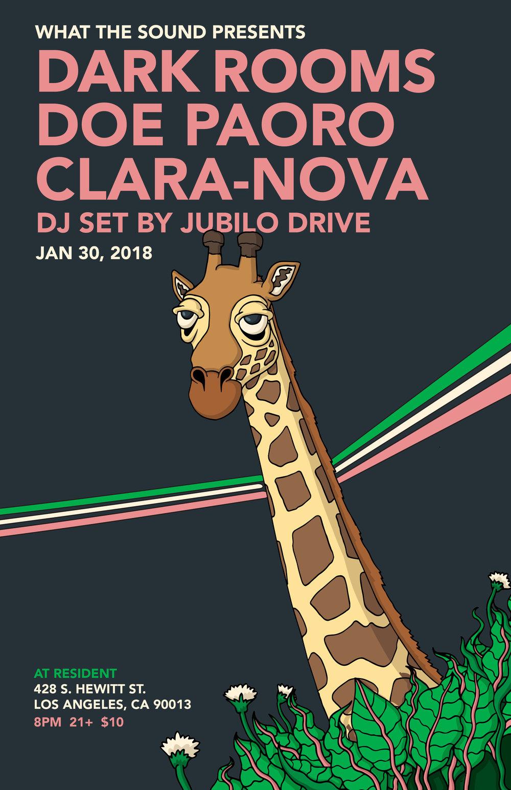 DARK ROOMS / DOE PAORO / CLARA-NOVA / JUBILO DRIVE - Artwork by Riley SavageJanuary 30 @ Resident$10, 21+