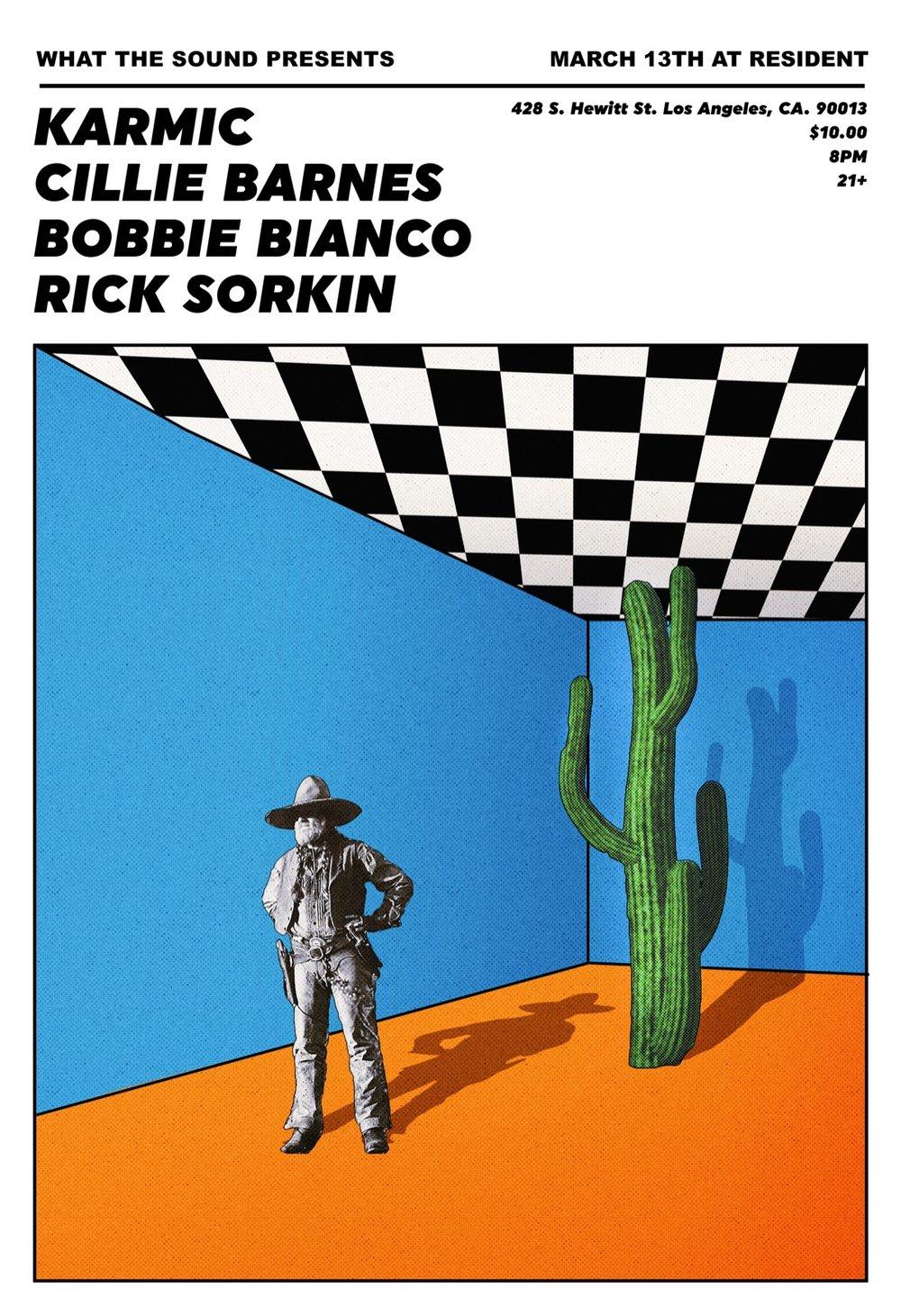 KARMIC / CILLIE BARNES / BOBBIE BIANCO / RICK SORKIN - Artwork by Patrick ElmoreMarch 13 @ Resident$10, 21+