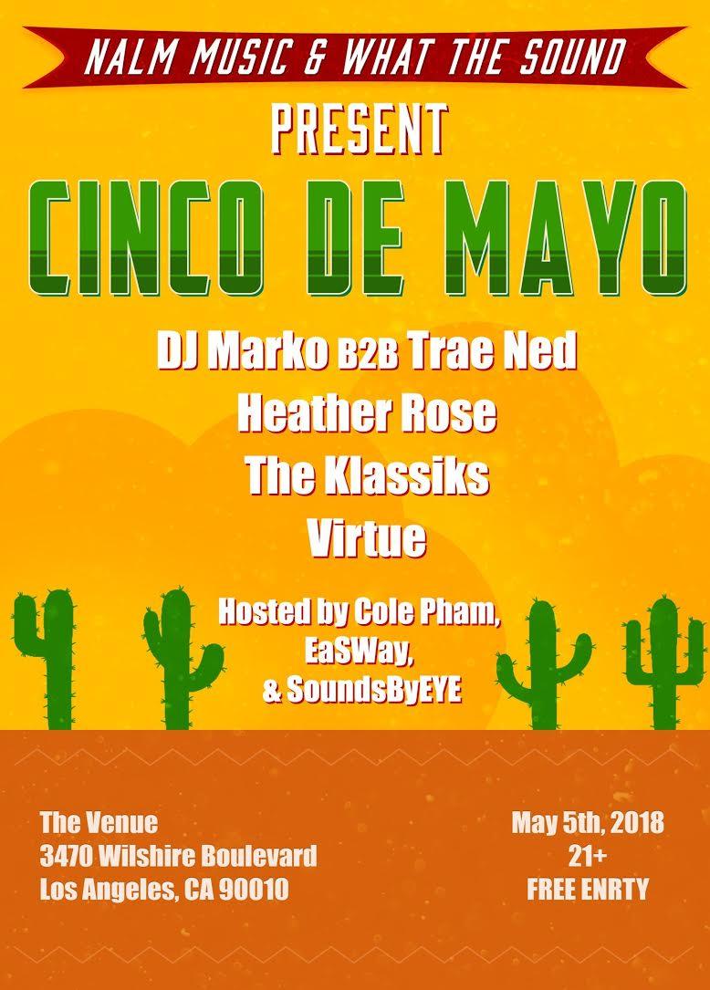 DJ MARKO b2b TRAE NED / HEATHER ROSE / THE KLASSIKS / VIRTUE - May 5 @ The VenueFREE