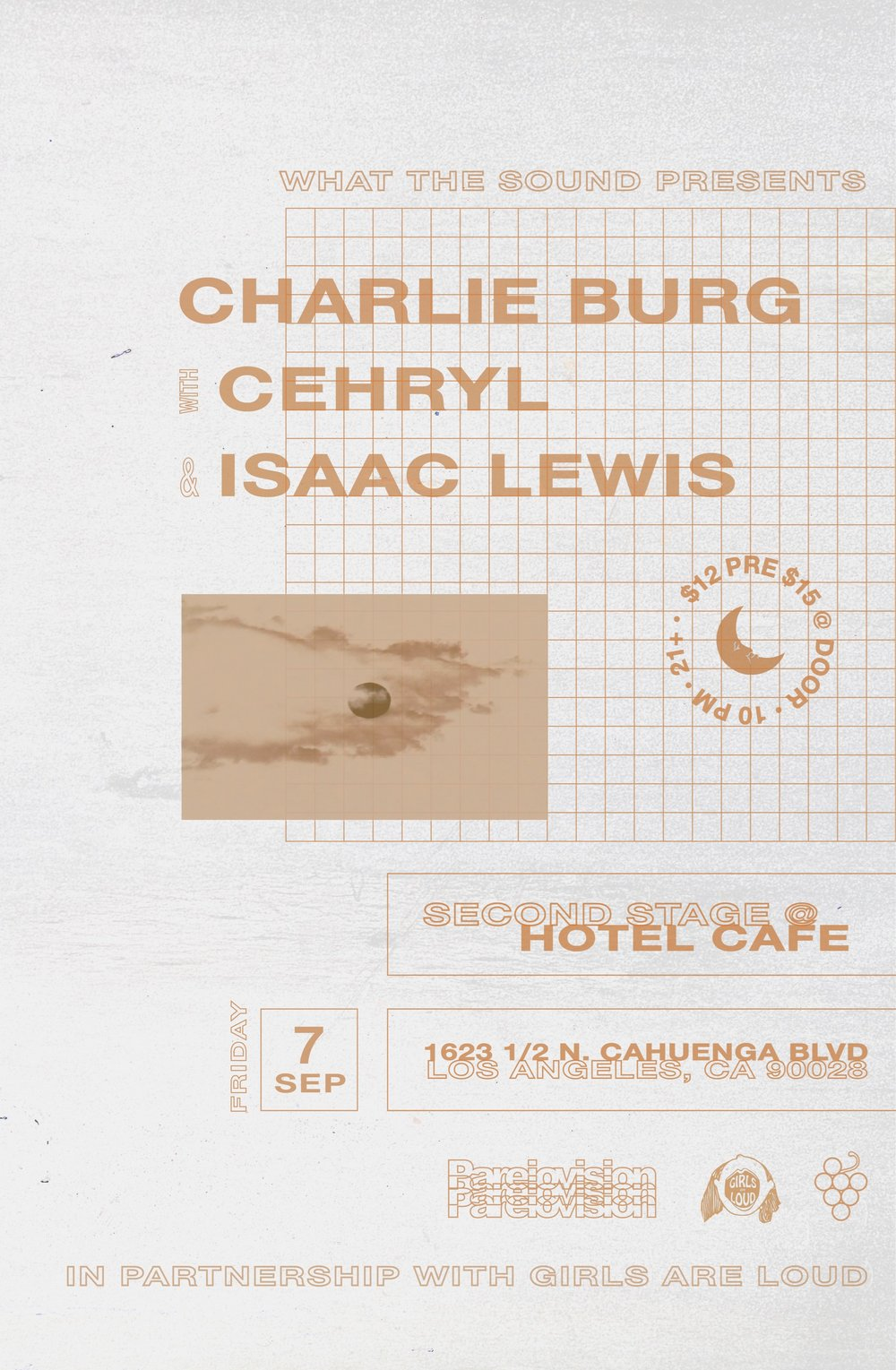 CHARLIE BURG / CEHRYL / ISAAC LEWIS - Art by Sabrina GhantousSeptember 7 @ The Hotel Cafe - Second Stage$12 ADV / $15 DOORS21+