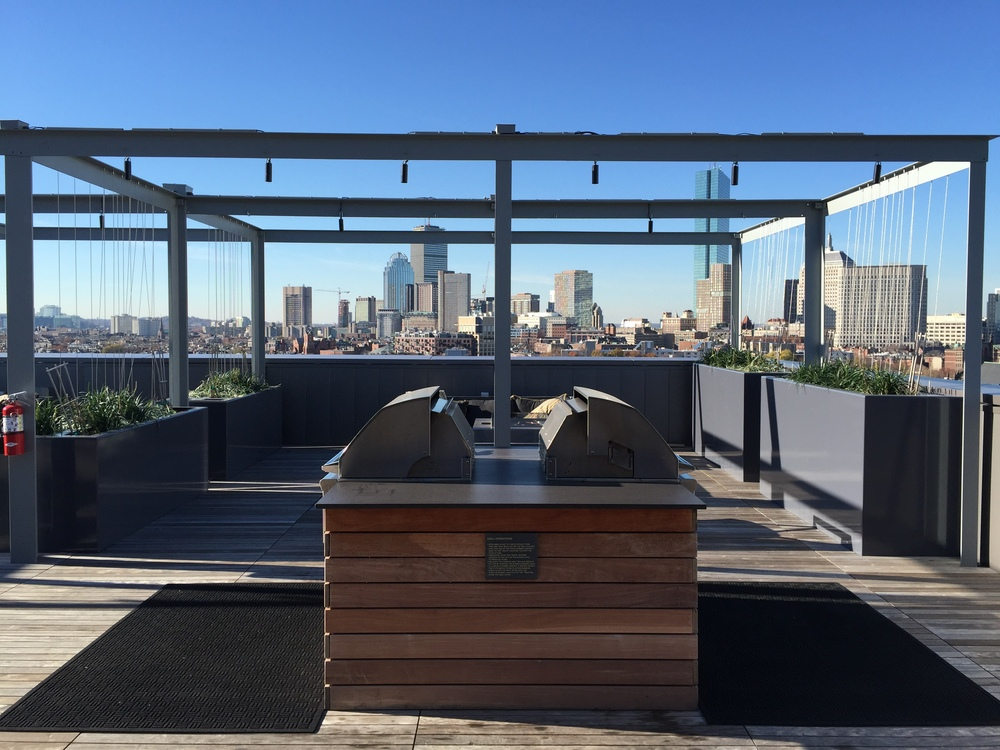 Cabanas overlooking the city.