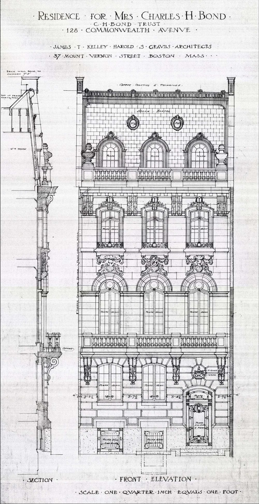 Architectural rendering of remodeled front façade of 128 Commonwealth (1909) by James T. Kelley and Harold S. Graves, architects; courtesy of the Boston Public Library Arts Department