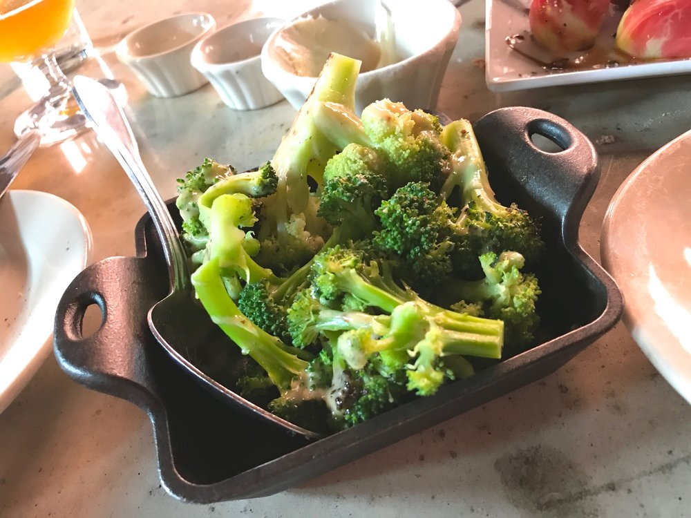 The broccoli was cooked to perfection.  Al-dente.  Just the way I like it,  The mustard sauce was phenomenal.  I've attempted recreation at home several times.