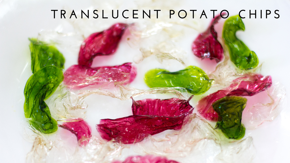 A translucent potato chip that appears as if it is made from glass.