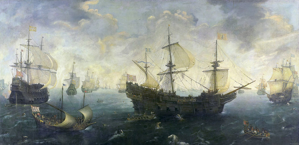 C. C. van Wieringen's painting of the Spanish Armada off the English coast.