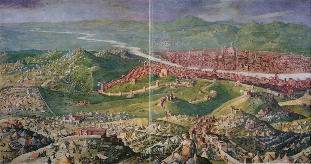 One of the numerous sieges of Florence, as Italy during this war became a battleground for the interested parties.