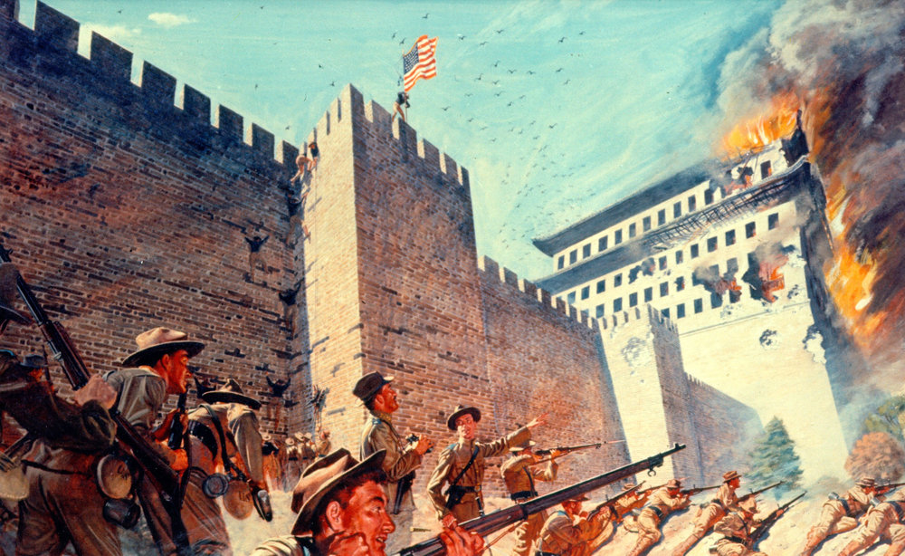 The Siege of Peking by Boxer forces, resisted by the foreign delegations