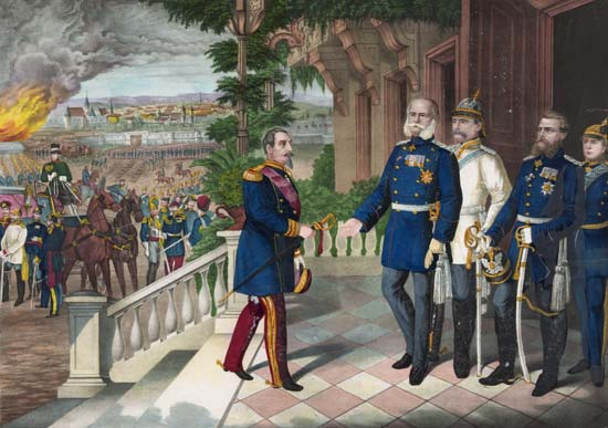 Napoleon III surrenders to the soon to be Kaiser of Germany, Wilhelm I, while Bismarck stands longingly in the background. Courtesy Library of Congress, Washington, D.C