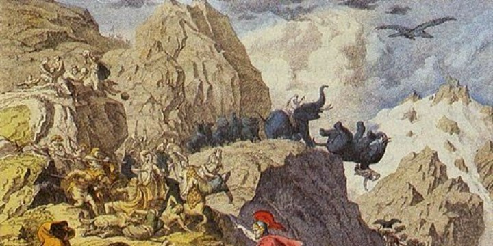 Hannibal crosses the Alps, and one of his elephants had vertigo...apparently... Courtesy http://cdn.ancienthistorylists.com/wp-content/uploads/2014/07/Hannibal-invades-Italy-218-BCE.jpg