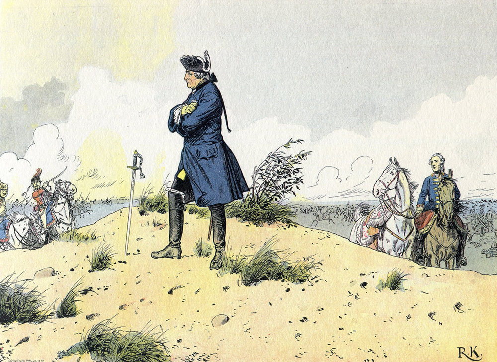 """Why so downcast, oh my soul!"" - Prussia's defeat at the Battle of Kunersdorf in August 1759 was the worst of Frederick's career and reign, and nearly led him to end it then and there. Courtesy: http://www.britishbattles.com/frederick-the-great-wars/seven-years-war/battle-of-kunersdorf/"
