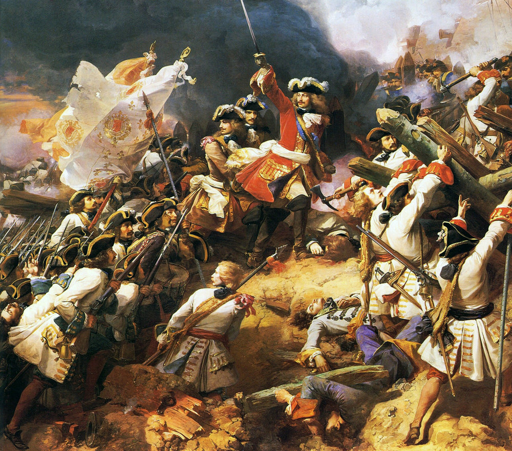 Louis XIV was immensely fortunate to have in his employ some seriously talented men. Case in point, the centerpiece of this painting Marshal Villars, who saved France at the Battle of Denaim in the closing months of the war. Courtesy: Joconde database