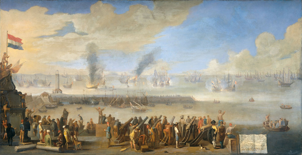The battle of Livorno, March 1653 was one of the many occasions when English and Dutch guns involved other powers, this time the Grand Duke of Tuscany got a look in, and he was not well pleased. Courtesy: http://thedutchgoldenage.nl/wars%20and%20battles/the%20dutch%20and%20the%20sea/first%20anglo-dutch%20war.html