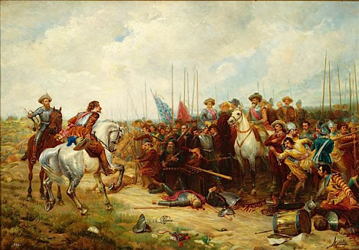 The Battle of Rocroi in 1643 marked the dramatic end of Spanish military supremacy in Europe. Broken emphatically by the French, it resembled a changing of the guard in the camp of the great powers which would be fully realised come the Peace of the Pyrenees in 1659.
