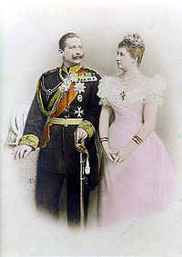 Wilhelm II and his first wife, when times were royal and simple. Her death in 1921 was a crushing blow to Wilhelm, especially as their son Joachim had committed suicide only recently before.