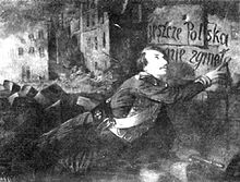 Charles Michel Guilbert d'Anelle,  Expiring Soldier of Liberty  (1849) painting shows a dying Polish freedom fighter scrawl '  Poland is Not Yet Lost  ' in his blood.