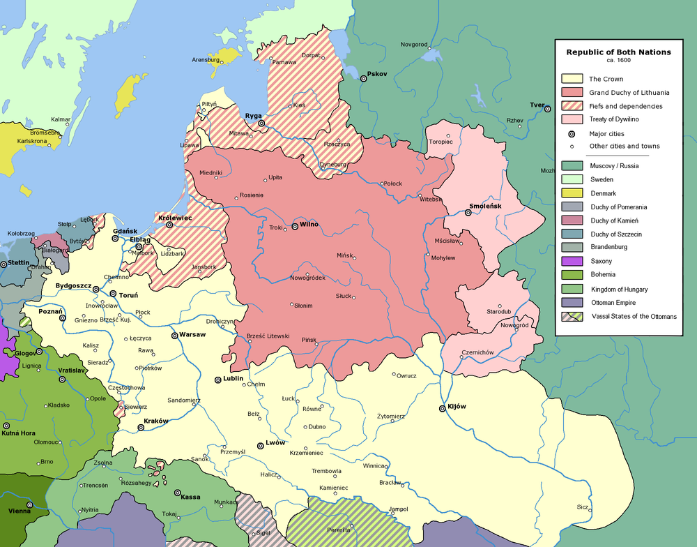 Poland-Lithuania started off the 17th century looking like this...