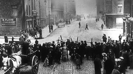 FT5S British police mount a roadblock to support a search in Dublin easter rising 1916.jpg
