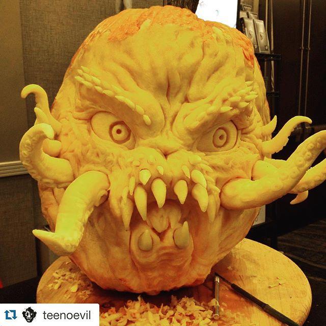 Wow this is amazing! Is this Krul from Ghostbusters? 😁 brilliant carving from @teenoevil #lovetoCARVEPUMPKINS #bbcgetcreative #halloween #pumpkins #bestpumpkins
