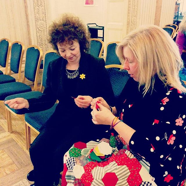 Something great about a Culture Minister who can sew - supporting NI Big Sock at Stormont too - fab! #NIartsnews
