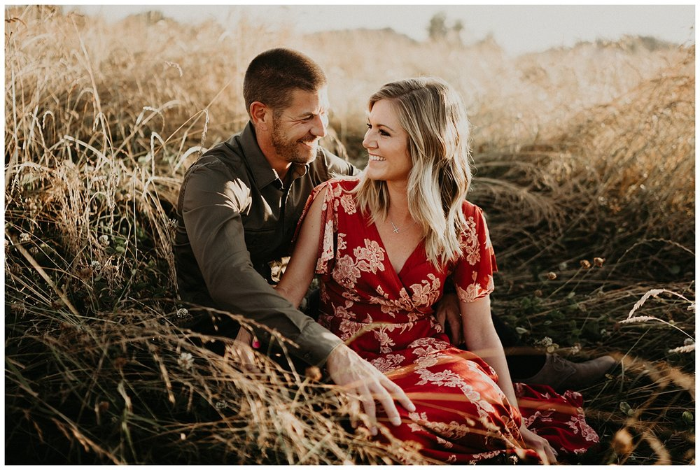 golden sunset engagement session
