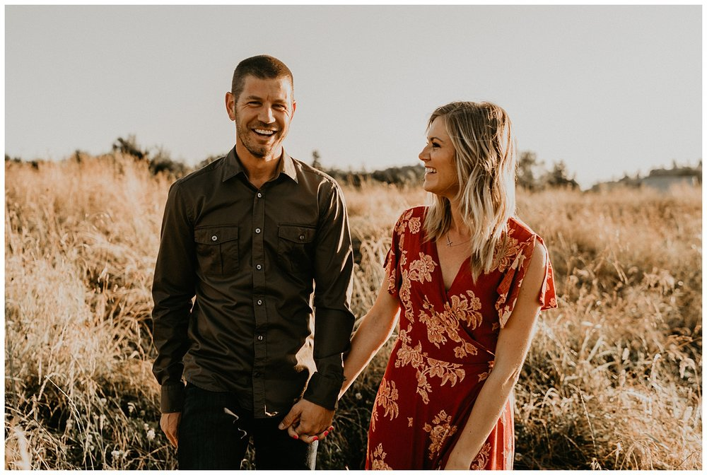 tall grass open field engagement session