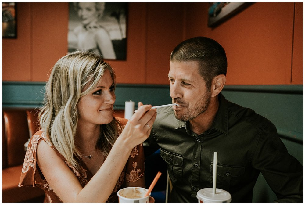 milkshakes and fries engagement session