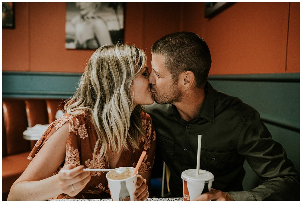 vintage diner engagement session