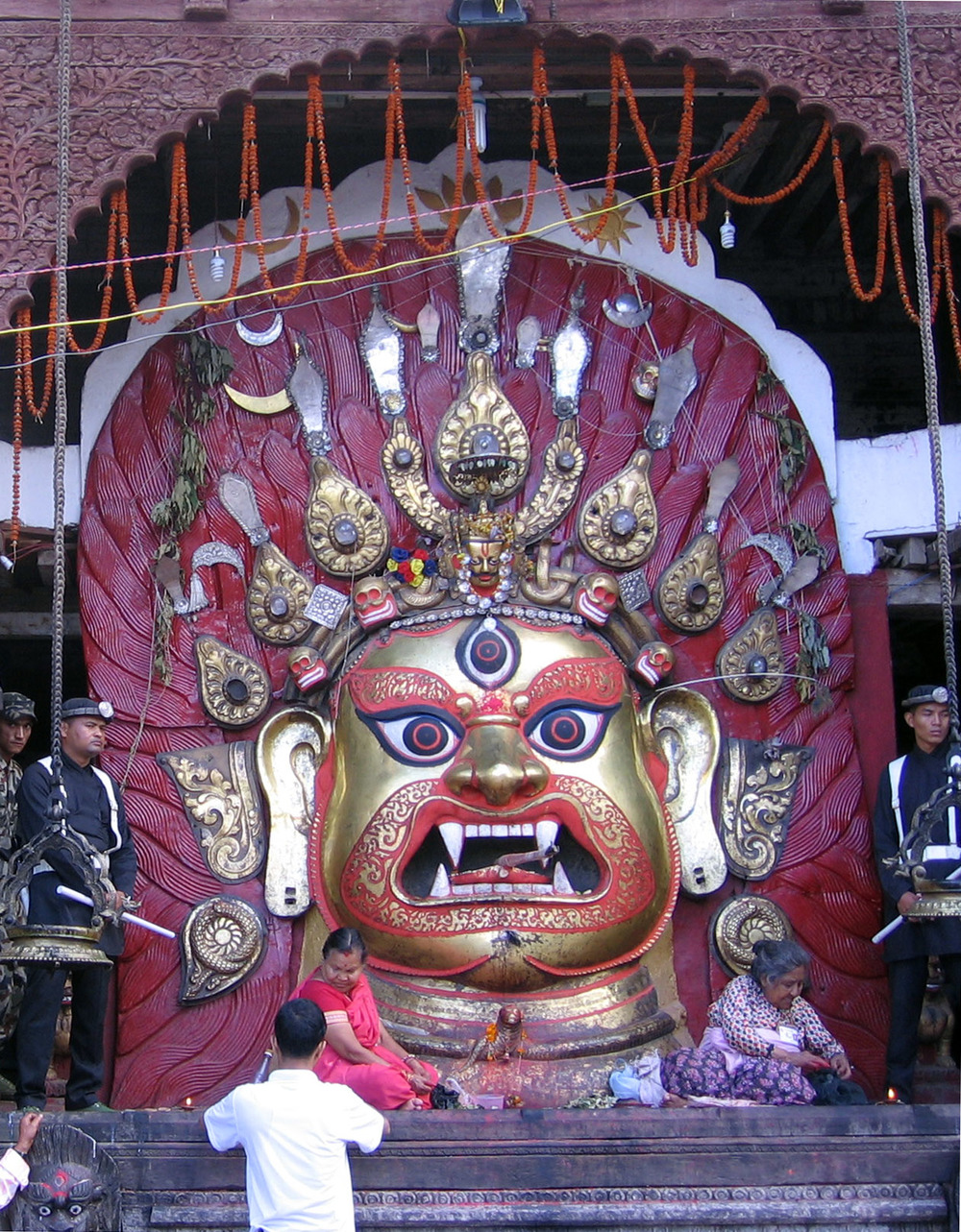 The face of Bhairava as worshipped in the Kathmandu Valley, Nepāl.