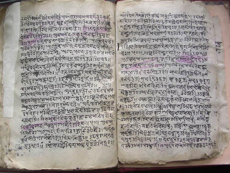 Un manuscrito de Cachemira. Lengua: Sánscrito. Texto: Śāradā.