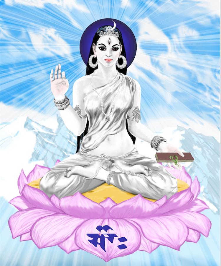 Parā Devī, la Diosa Suprema del Trika, un ejemplo de una 'deidad iluminada', representada en un estilo moderno.